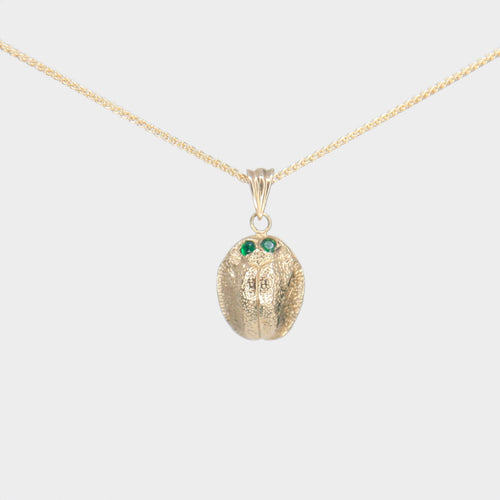 9k Gold Scarab Necklace with Tsavorite Eyes