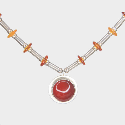 Carnelian and Amber Amulet Necklace