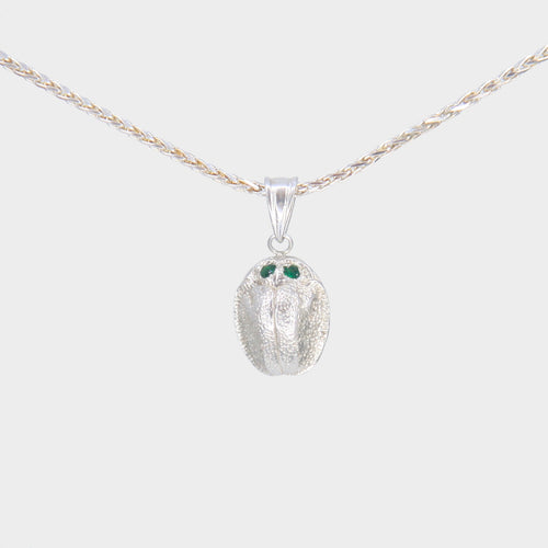 Silver Scarab Necklace with Tsavorite Eyes