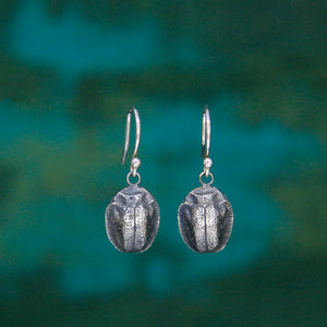 Oxidized Silver Scarab Earrings