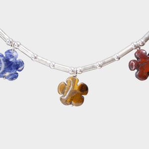 Amulet Necklace with Gemstone Flowers