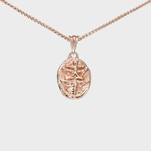 9k Rose Gold Scarab Necklace with Pink Sapphire Eyes
