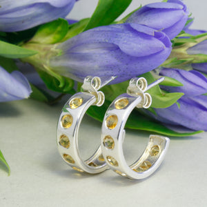 Silver Helios Hoops with Citrine