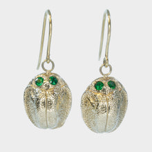 Load image into Gallery viewer, 9k Gold Scarab Earrings with Tsavorite Eyes