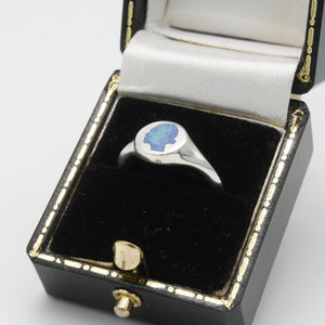 Speckled Blue Signet Ring