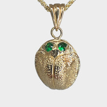 Load image into Gallery viewer, 18k Gold Scarab Necklace with Emerald Eyes