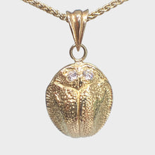 Load image into Gallery viewer, 9k Gold Scarab Necklace with Diamond Eyes