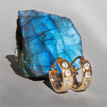 Load image into Gallery viewer, 9k Gold Helios Hoops with Moonstones