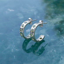 Load image into Gallery viewer, Silver Helios Hoops with Peridots