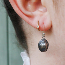 Load image into Gallery viewer, Oxidized Silver Scarab Earrings