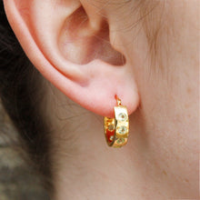 Load image into Gallery viewer, 9k Gold Helios Hoops with Peridots