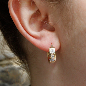 9k Gold Helios Hoops with Moonstones