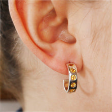 Load image into Gallery viewer, Silver Helios Hoops with Citrine