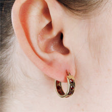 Load image into Gallery viewer, 9k Gold Helios Hoops with Garnets