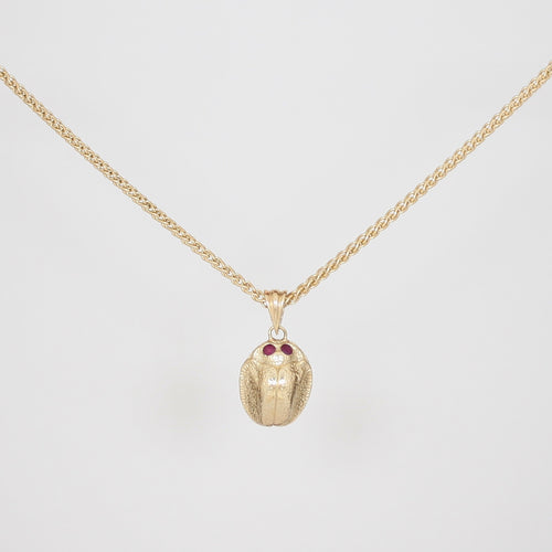 9k Gold Scarab Necklace with Ruby Eyes
