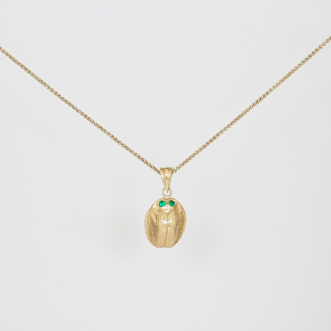 18k Gold Scarab Necklace with Emerald Eyes