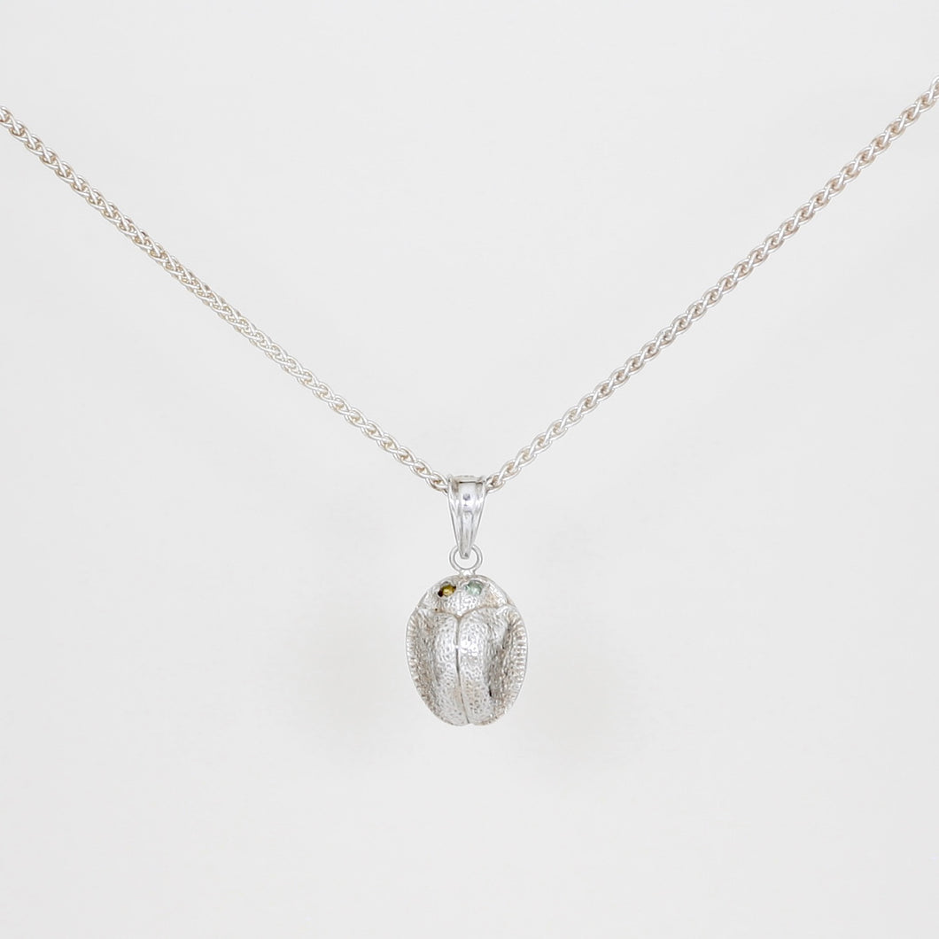 Silver and Tourmaline Scarab Necklace