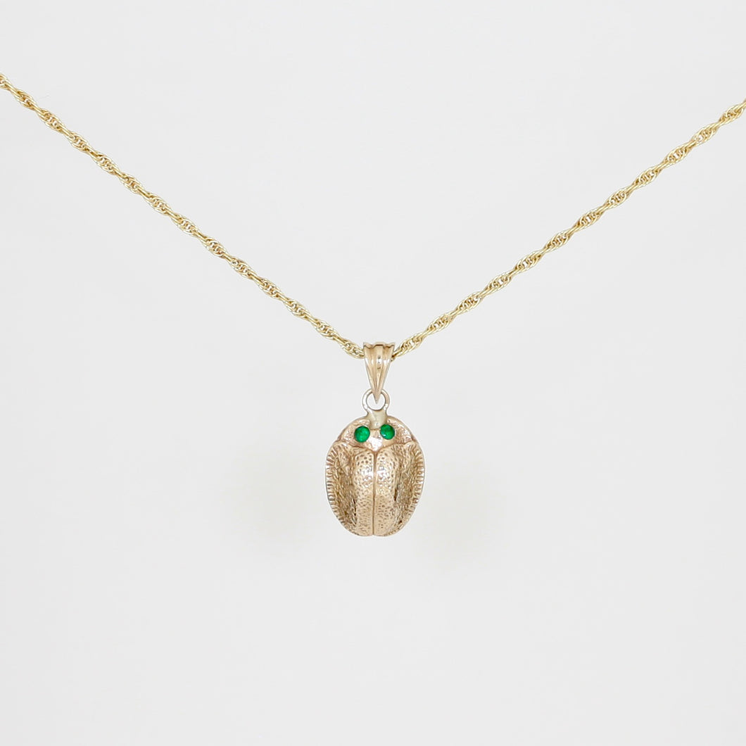 9k Gold Scarab Necklace with Emerald Eyes