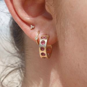 9k Gold Helios Hoops with Pink Tourmalines