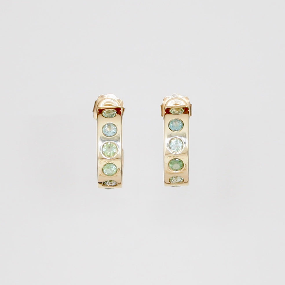 9k Green Tourmaline Hoops