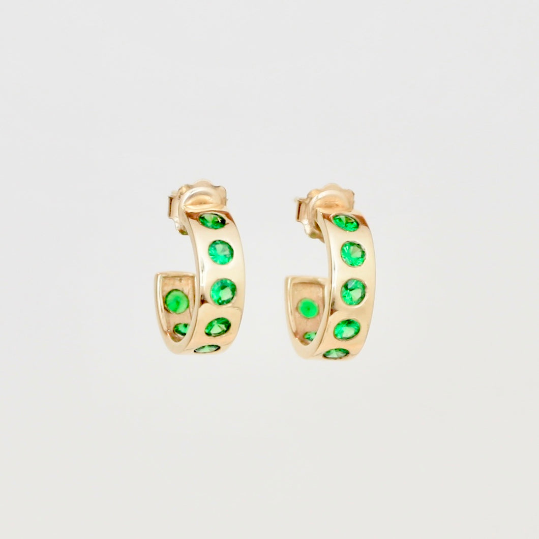 9k Gold Helios Hoops with Tsavorites
