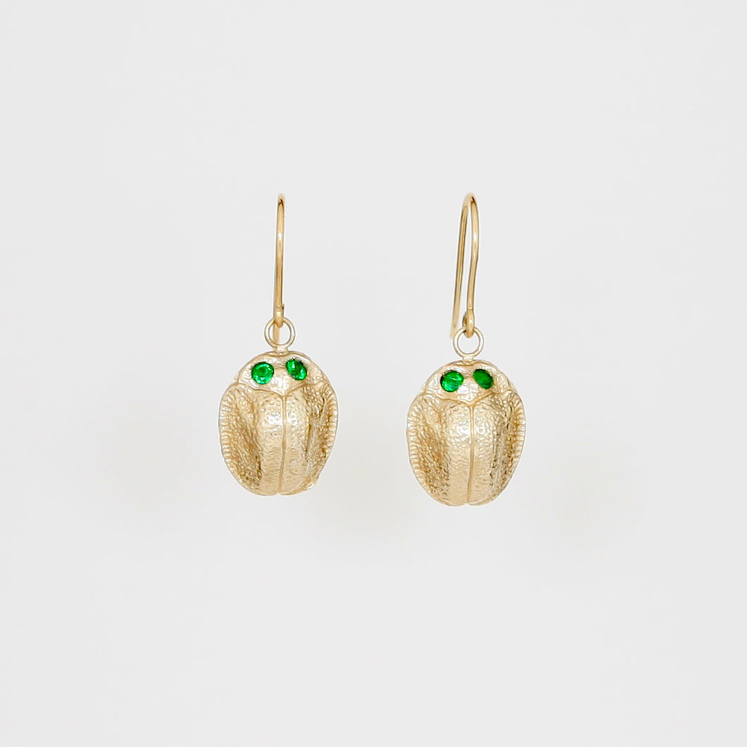 9k Gold Scarab Earrings with Tsavorite Eyes