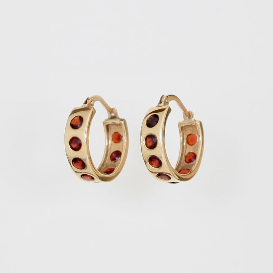 9k Gold Helios Hoops with Garnets