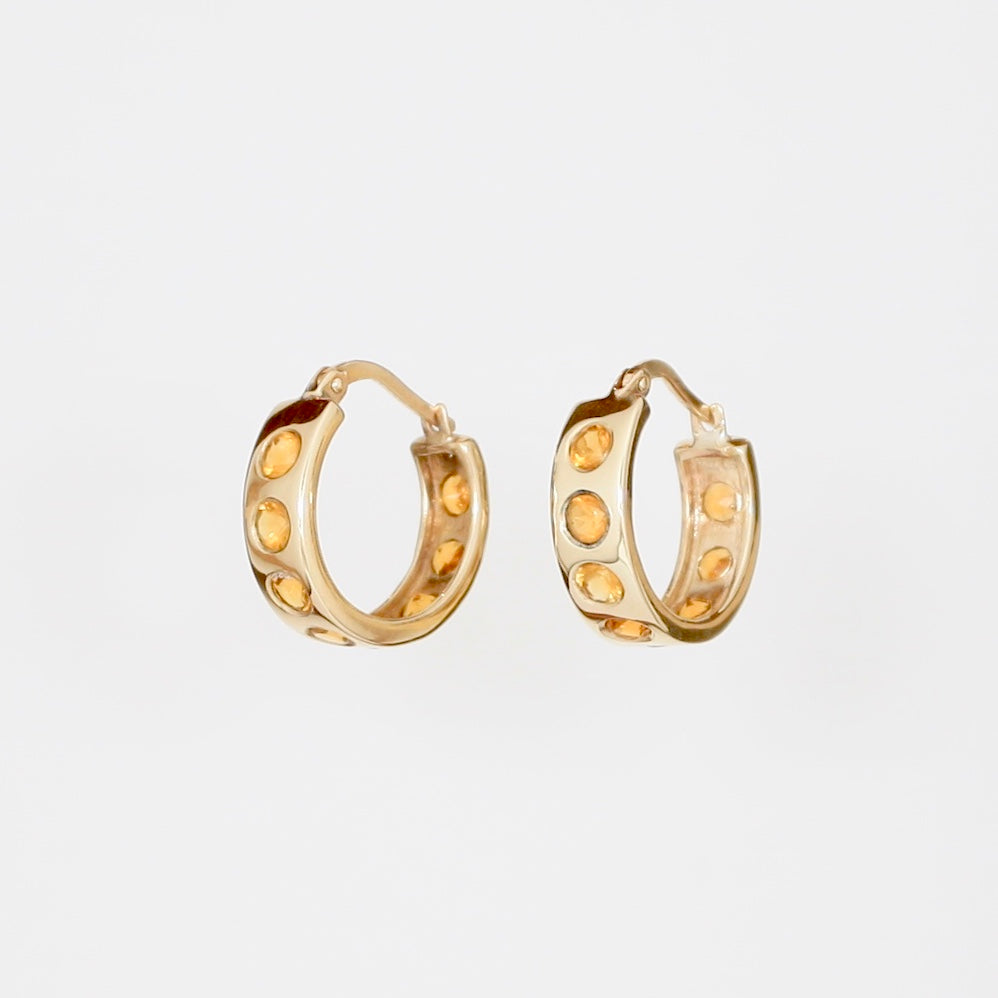 9k Gold Helios Hoops with Citrine