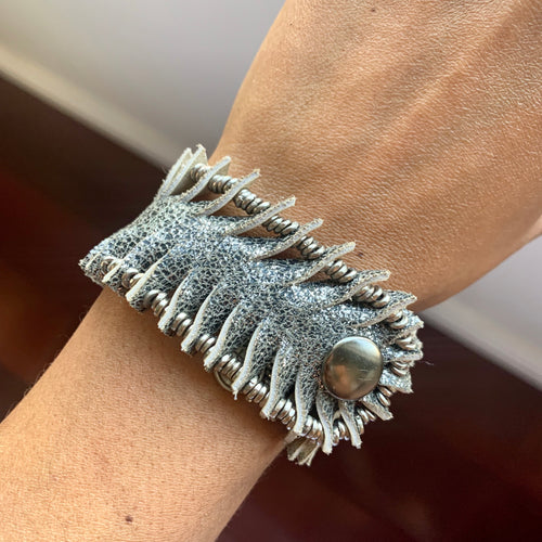 Dark Grey Metallic Leather Beaded Bracelet