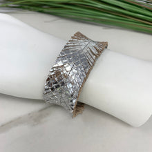 Silver Metallic Snakeskin Leather Feather Bracelet