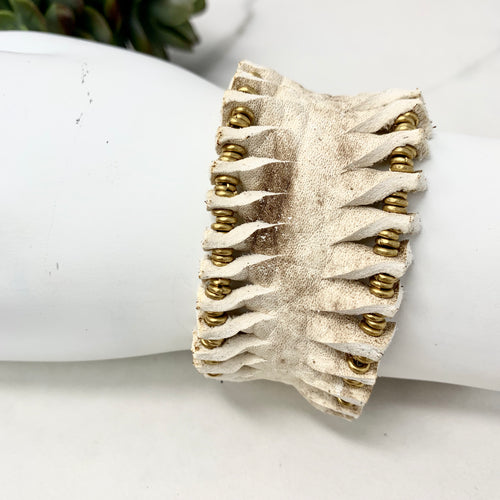 Vintage Cowhide Gold Beaded Leather Bracelet