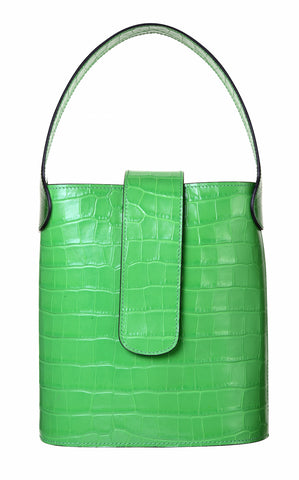 C.Nicol Holly mini bucket bag in green mock croc leather