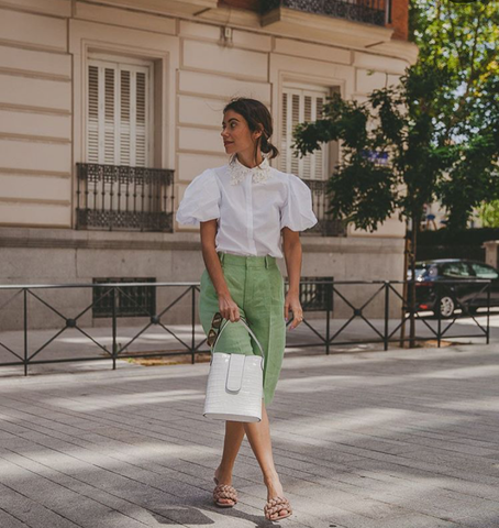 Sheila Conde wears C.Nicol Holly bucket bag in Madrid