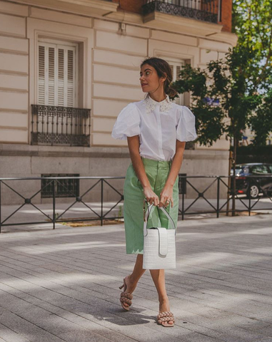 Sheila Conde wears the C.Nicol mini Holly bucket bag in Madrid