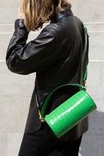 C.NICOL EVIE BARREL BAG GREEN MICK CROC MODEL VIEW