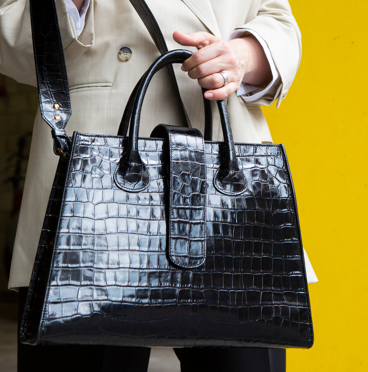 C.Nicol Rosa tote work bag in black patent mock croc leather
