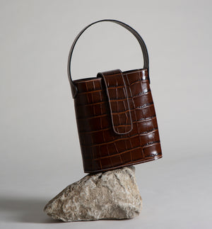 C.NICOL BROWN MOCK CROC HOLLY MINI LEATHER BUCKET BAG