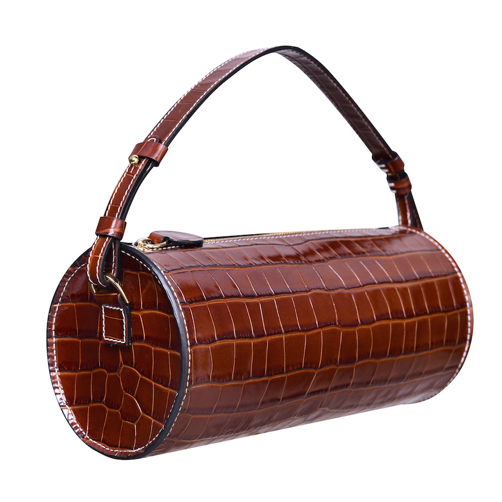 Evie leather barrel bag in brown mock croc