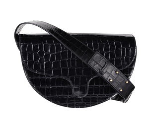 C.Nicol lily saddle bag in black patent mock croc leather