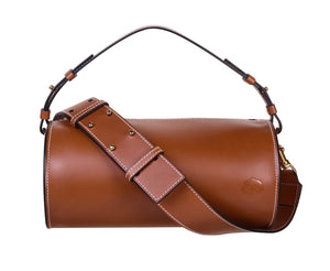 C.NICOL EVIE BARREL BAG TAN LEATHER FRONT VIEW