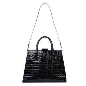 C.Nicol Rosa tote work bag in black patent mock croc strap view