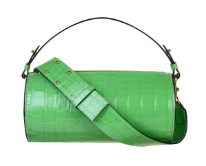 C.Nicol green croco leather Evie barrel bag - front
