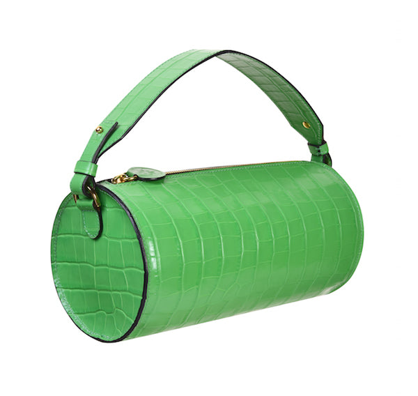 C.NICOL EVIE BARREL BAG GREEN MICK CROC SIDE VIEW