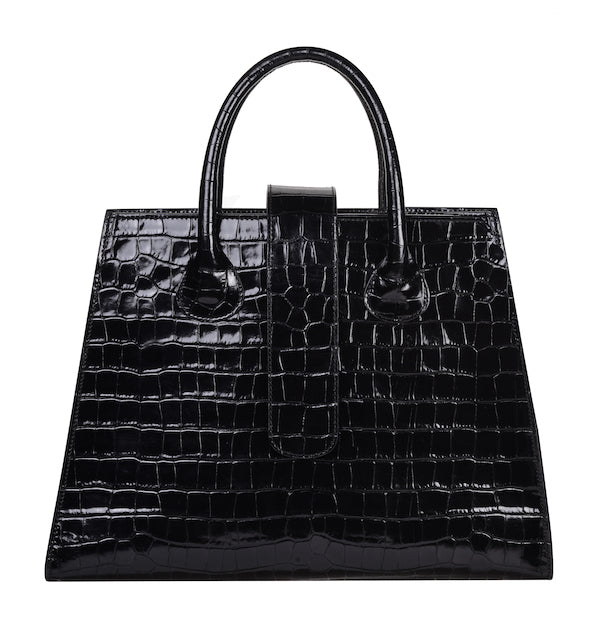 C.Nicol Rosa tote work bag in black patent mock croc front view
