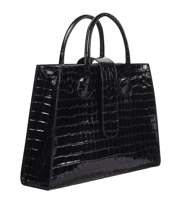 C.Nicol Rosa tote work bag in black patent mock croc side view