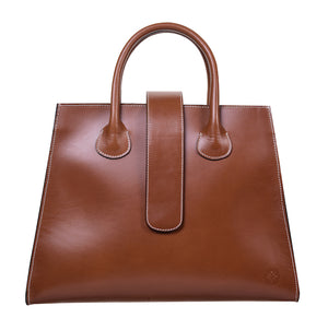 C.Nicol Rosa tote work bag in tan leather front view