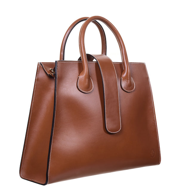C.Nicol Rosa tote work bag in tan leather side view