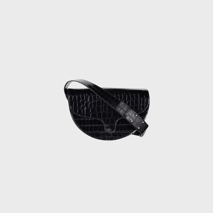 Lily half moon - Black croco