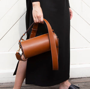 C.Nicol Evie tan leather barrel bag baguette