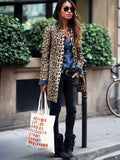 Flipmoda Leopard Print Fashion Casual Long Coat